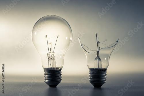 Cuadros en Lienzo Good and Broken Light Bulb