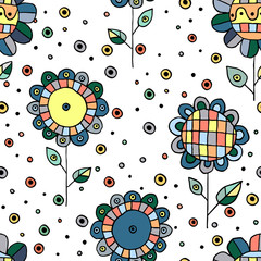 Naklejka Seamless vector hand drawn doodle childlike floral pattern. Background with childish flowers, leaves. Decorative cute graphic line drawing illustration. Print for wrapping, background, fabric, decor