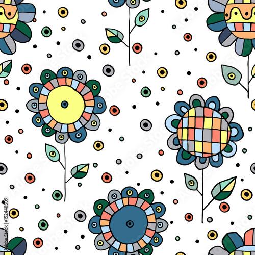 bezszwowa-wektorowa-reka-rysujacy-doodle-dziecinny-kwiecisty-wzor-tlo-z-dziecinnymi-kwiatami-liscmi