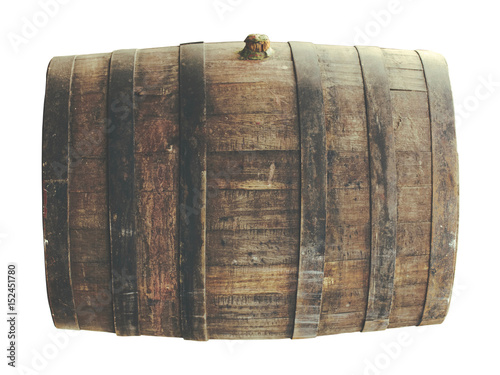 Old wine barrel isolated on white