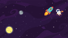 Space Flat Vector Background W...