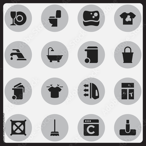 Fotografie, Obraz  Set Of 16 Editable Cleaning Icons