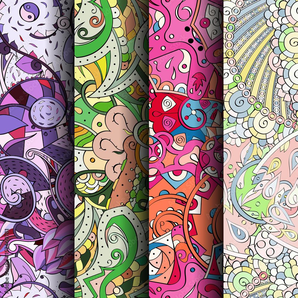 Zestaw maswerk kolorowe wzory bez szwu. Pionowe paski. Zakrzywione tła doodlingowe dla tekstylnego lub poligraficznego z mehndi i motywami etnicznymi. Wektor <span>plik: #152460781 | autor: Pure Sight lab</span>
