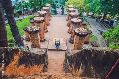 Foto op Plexiglas Artistiek mon. Old Brick cham towers in Nha Trang, landmark Vietnam