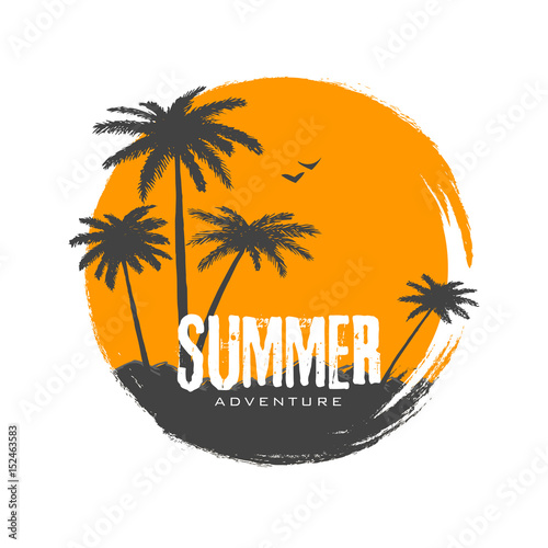 Silhouette of palms in sunset Wall mural