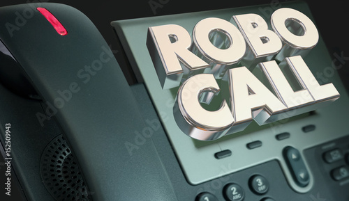 Fototapeta Robo Call Telephone Marketing Spam Junk Phone Calling 3d Illustration