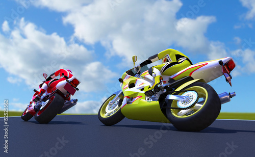 Photo  The image motorcycle races  3D illustration