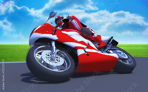 The image motorcycle races  3D illustration Canvas Print