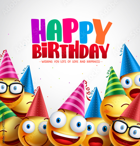Smiley happy birthday greeting card colorful vector background in smiley happy birthday greeting card colorful vector background in white with space for text and message m4hsunfo