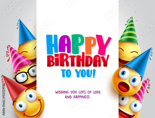 Obraz Happy birthday vector design with smileys wearing birthday hat in white empty space for message and text for party and celebration. Vector illustration.