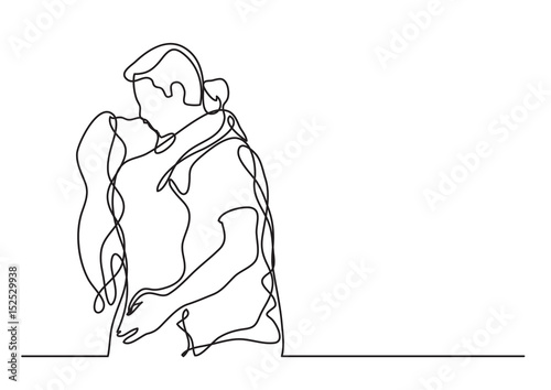 Fotografie, Obraz loving couple embracing and kissing - continuous line drawing