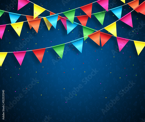 Streamers background design with birthday patterns and colorful