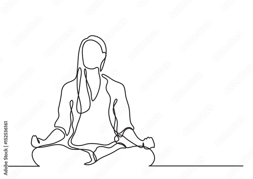 Fototapeta woman meditating - continuous line drawing