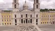 Main facade of the royal palace in Mafra, Portugal, May 10, 2017. Aerial view.