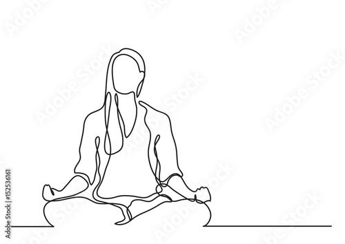 Obraz woman meditating - continuous line drawing - fototapety do salonu