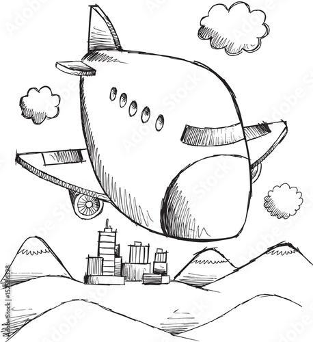 Papiers peints Cartoon draw Doodle Aircraft Vector Art