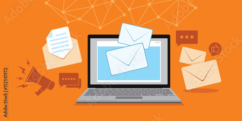 Obraz na płótnie email and message technology with laptop illustration