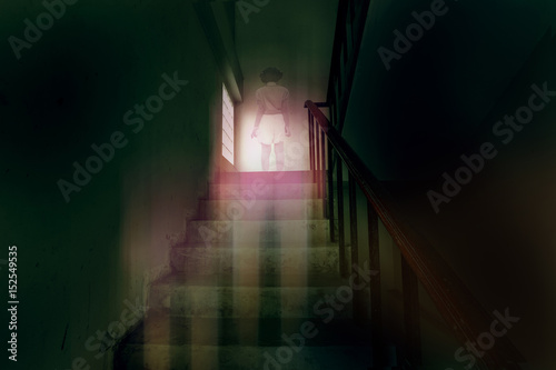ghost little girl appears on stairs in haunted house, child is confined to death Poster