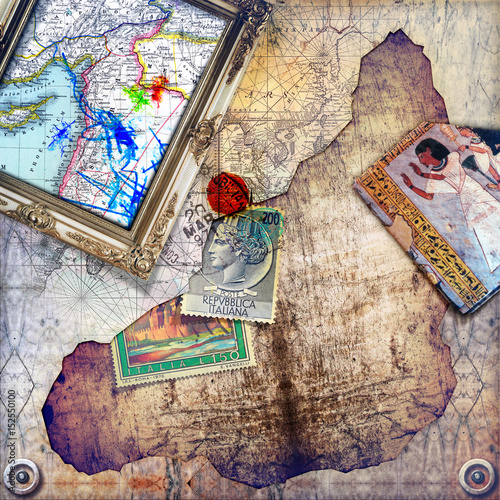 Photo sur Aluminium Imagination Background with collage,map,frame and stamps