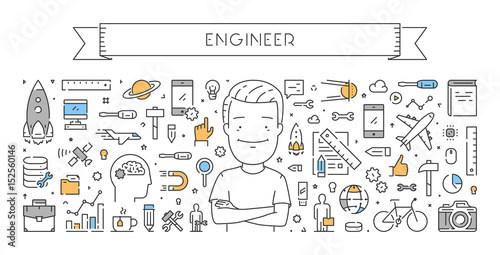 Vector line web concept of engineer