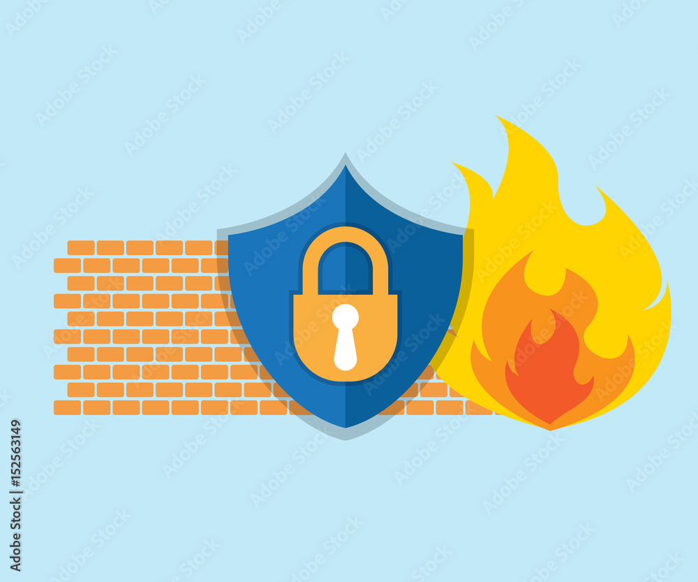 Fototapeta firewall network security icon
