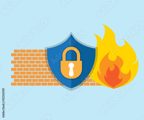 Fotomural firewall network security icon