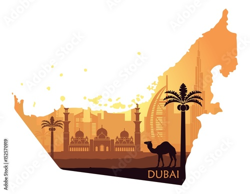 Photo Skyline of Dubai with camel in the form of a map of the United Arab Emirates