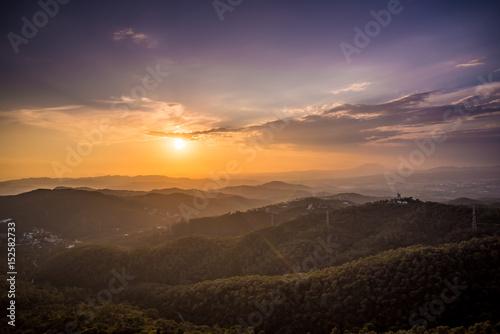 Foto op Aluminium Bergen Barcelona Sunset from Mountain Tibidado