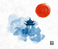 Blue Pagoda Temple, Red Sun And Forest Trees. Traditional Oriental Ink Painting Sumi-e, U-sin, Go-hua. Contains Hieroglyph - Happiness.