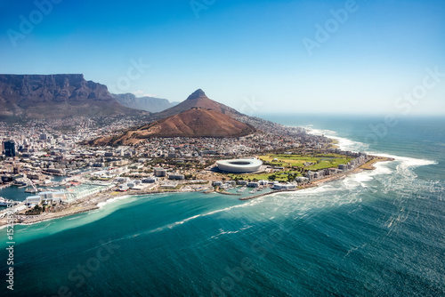 Spoed Fotobehang Afrika Aerial view of Capetown, SOuth Africa