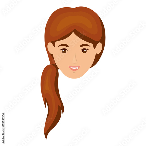 White Background Of Smiling Woman Face With Ponytail Hairstyle In