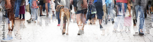 Fotografía City walk, double exposure of a large crowd of people and a dog, abstract panora