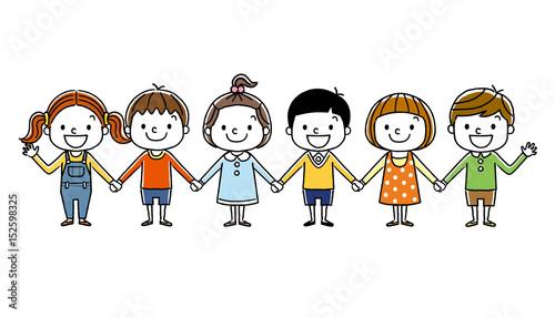 Valokuvatapetti 子供たち:みんなで手をつなぐ