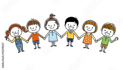 Fototapeta 子供たち:みんなで手をつなぐ