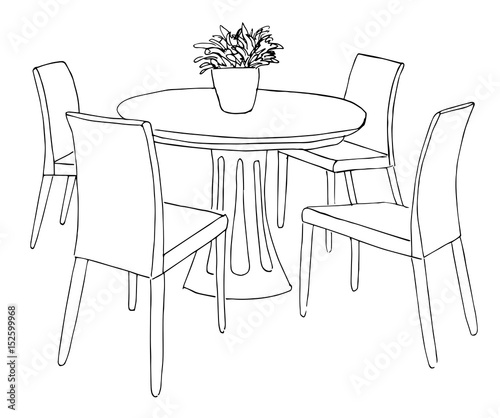 Part Of The Dining Room Round Table And Chairs On The Table Vase Of Flowers Hand Drawn Sketch Vector Illustration Buy This Stock Vector And Explore Similar Vectors At Adobe Stock