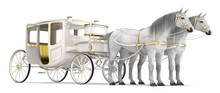 A White Horse Drawn Carriage With Open Door. 3d Image Isolated On White.