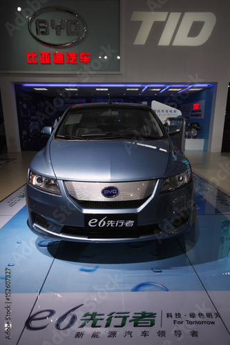 A Byd E6 Electric Car Is Displayed At The 9th China Guangzhou International Automobile