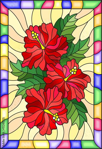 ilustracja-w-stylu-witrazu-z-kwiatow-i-lisci-hibiskusa-na-zoltym-tle-z-jas