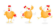 Set Of Happy Chicken Dancing. ...