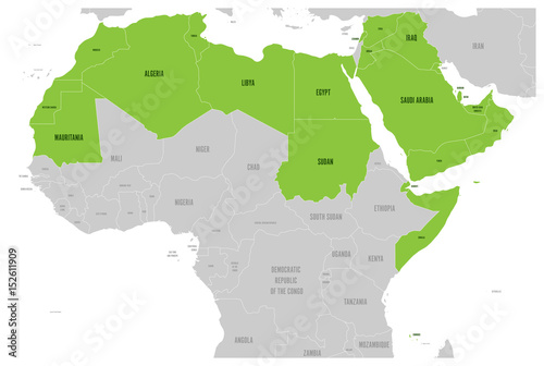 Arab World states political map with higlighted 22 arabic ...