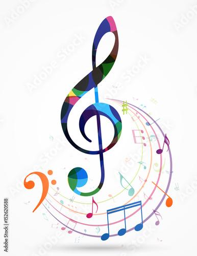 Fotografia Colorful music notes background