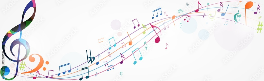 Fototapety, obrazy: Colorful music notes background