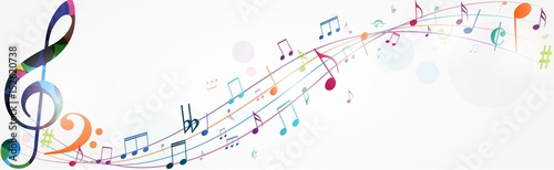 Photo Colorful music notes background