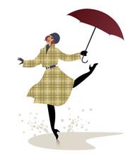 Silhouette Of Girl In Raincoat...