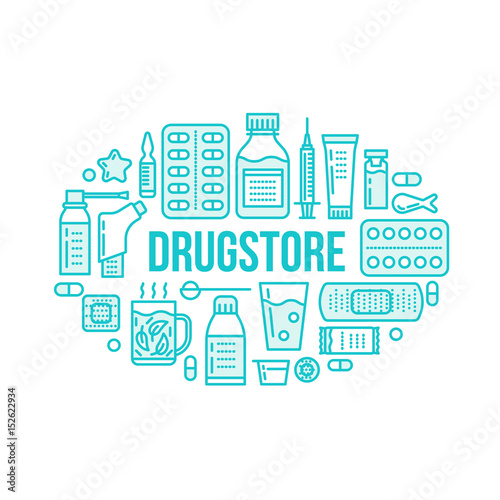 Medical Drugstore Banner Illustration Pharmacy Vector Line Icons Tablet Capsules Pills Antibiotics Vitamins And Other Medicines Healthcare Brochure Poster Design Buy This Stock Vector And Explore Similar Vectors At Adobe Stock