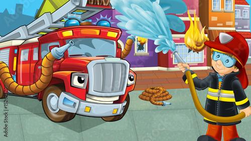 Scena kreskówki z strażakiem w pobliżu spalania budynku Odważny wóz strażacki pomaga kolorowe sceny
