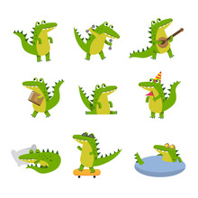 Cute Cartoon Crocodile In Different Situations, Colorful Characters Vector Illustrations