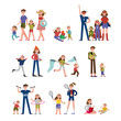 Happy moments in family life, activity and leisure. Family set colorful characters with parents and children vector Illustrations
