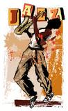 saksofonista na tle grunge - 152639379
