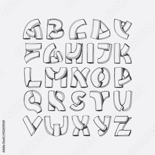 Hand drawn vector font, imitation of 3d letters. Abc sequence from A to Z, isolated on background. Alphabet illustration, good for lettering, titles, ...